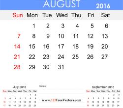 August 2016 Calendar Printable