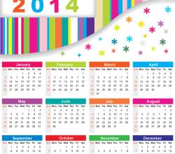 Colorful Calendar 2014 Vector Free