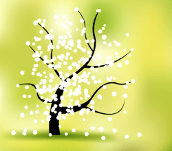 Vector Spring Flower Tree Landscape