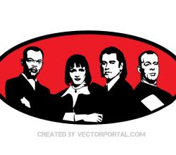 Pulp Fiction Movie Characters Vector Portrait Image
