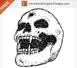 Hand Drawn Human Skull Free Vector Image