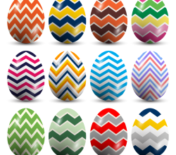 Colorful Easter Eggs with Chevron Pattern