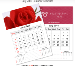 Wall Calendar July 2016