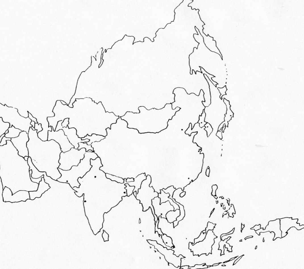 Black Line Map Of Asia Pictures To Pin