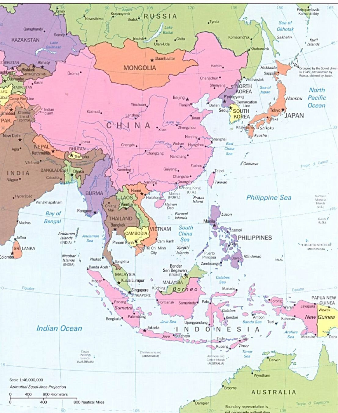 Labeled Physical Map Of Asia
