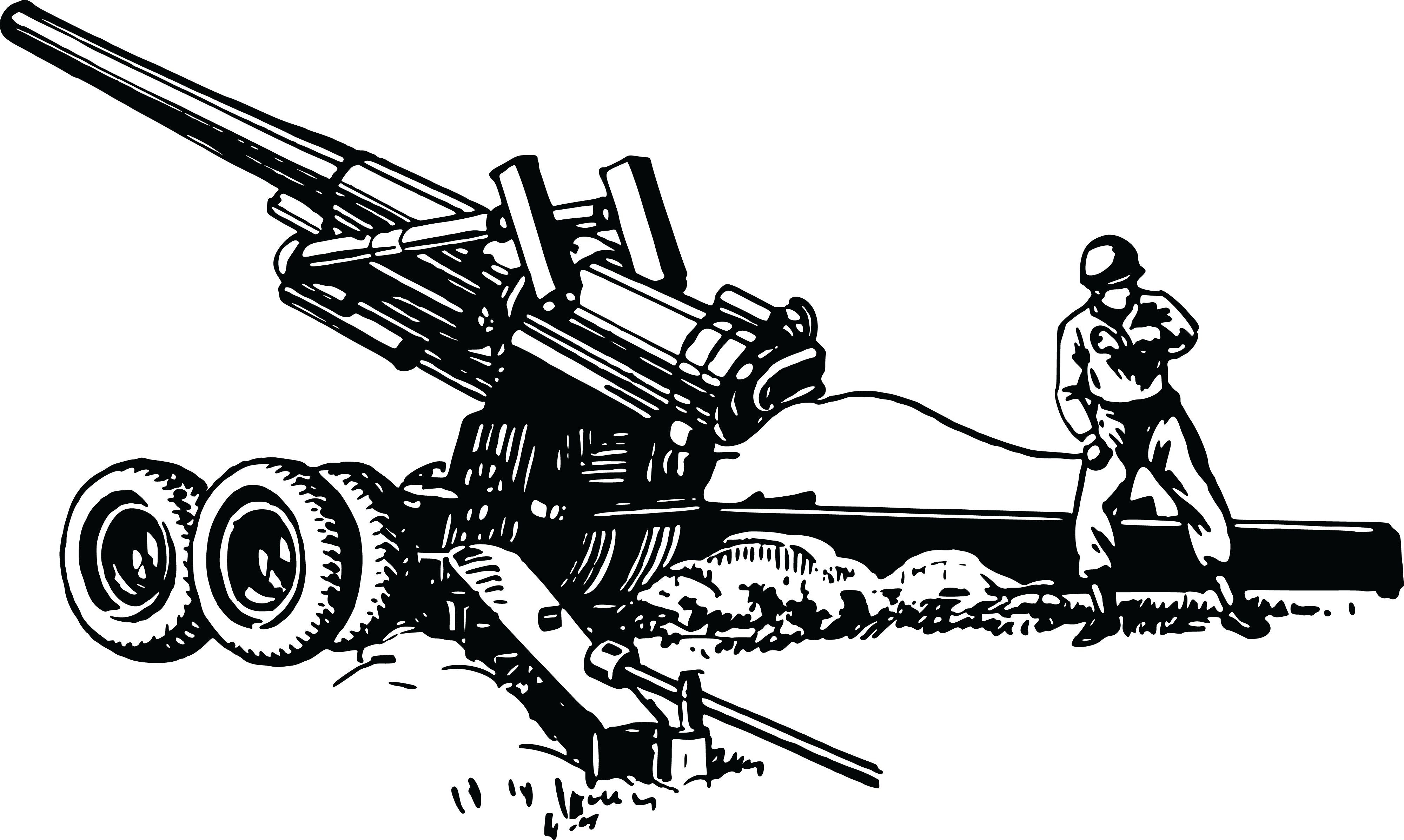 Free Clipart Of A Sol R Operating Artillery