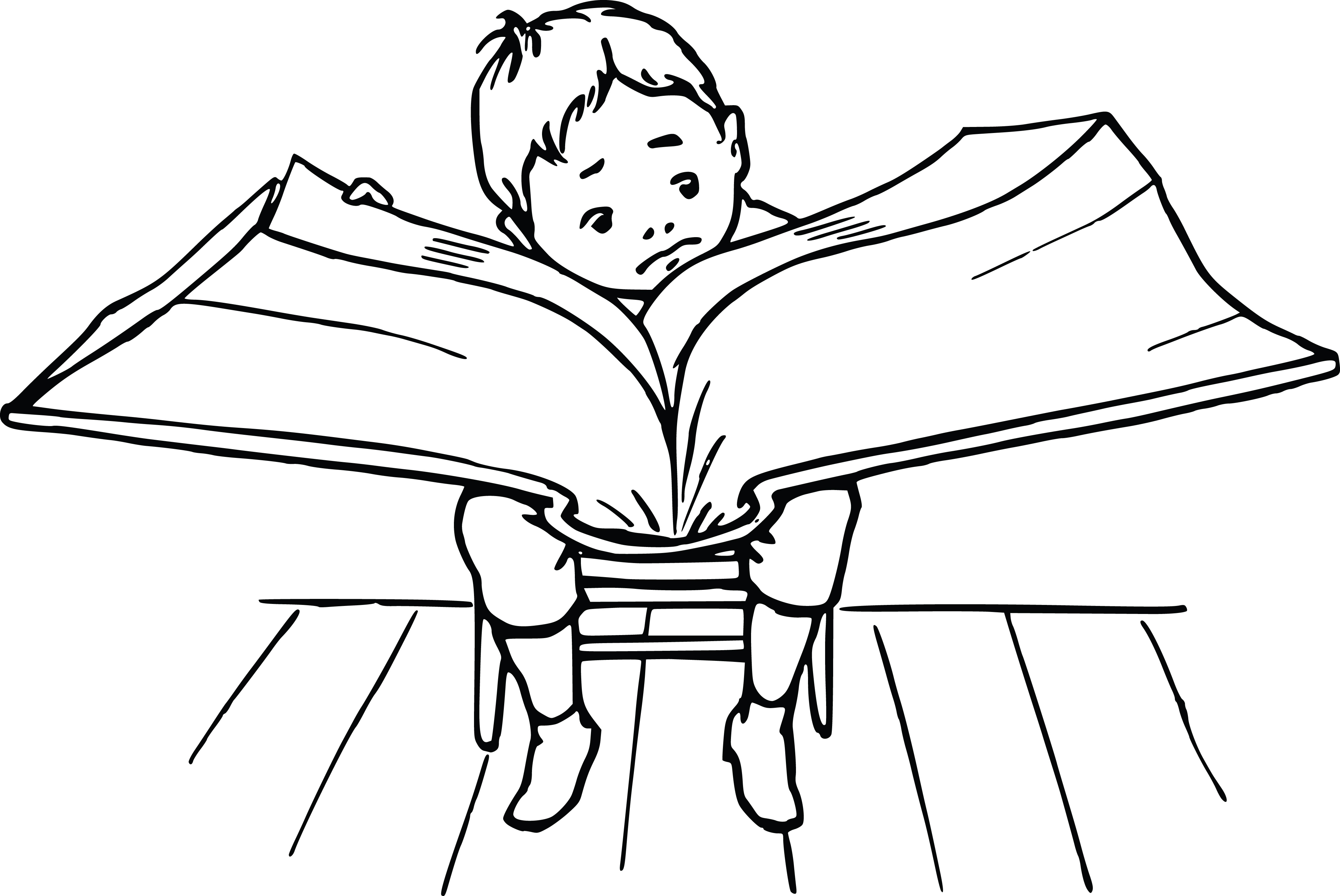 Free Clipart Of A boy reading a giant book