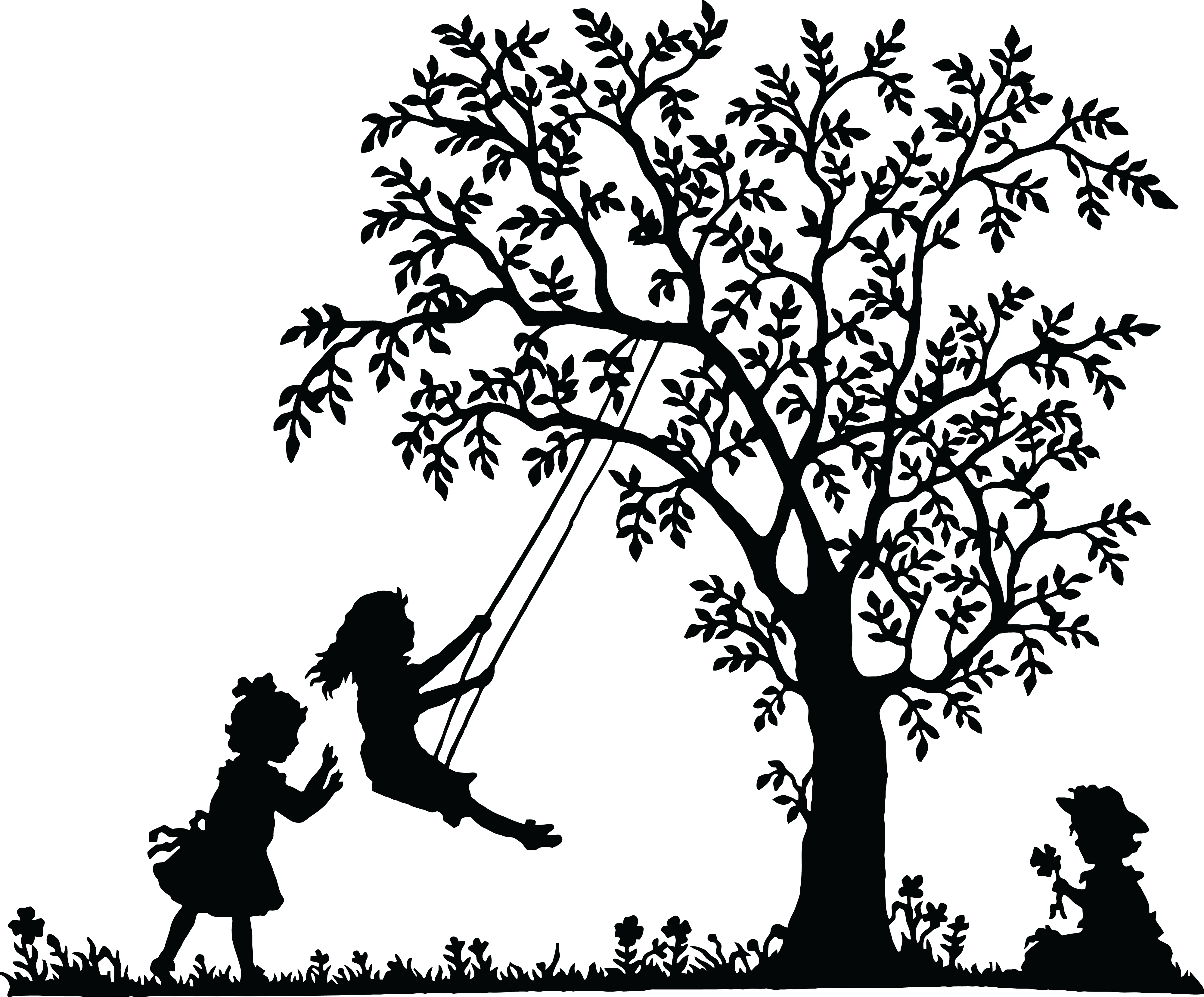 Free Clipart Of Girls Playing And Swinging By A Tree