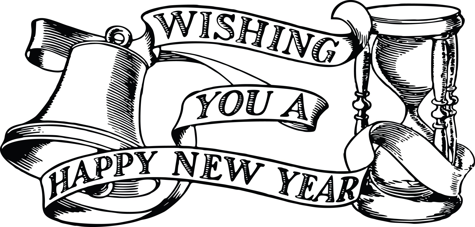 hight resolution of free clipart of a bell hourglass and happy new year banner 00011822