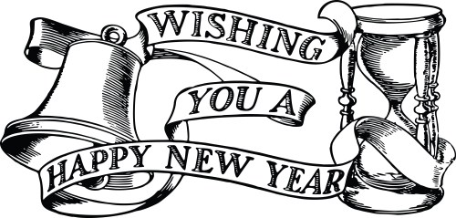 small resolution of free clipart of a bell hourglass and happy new year banner 00011822