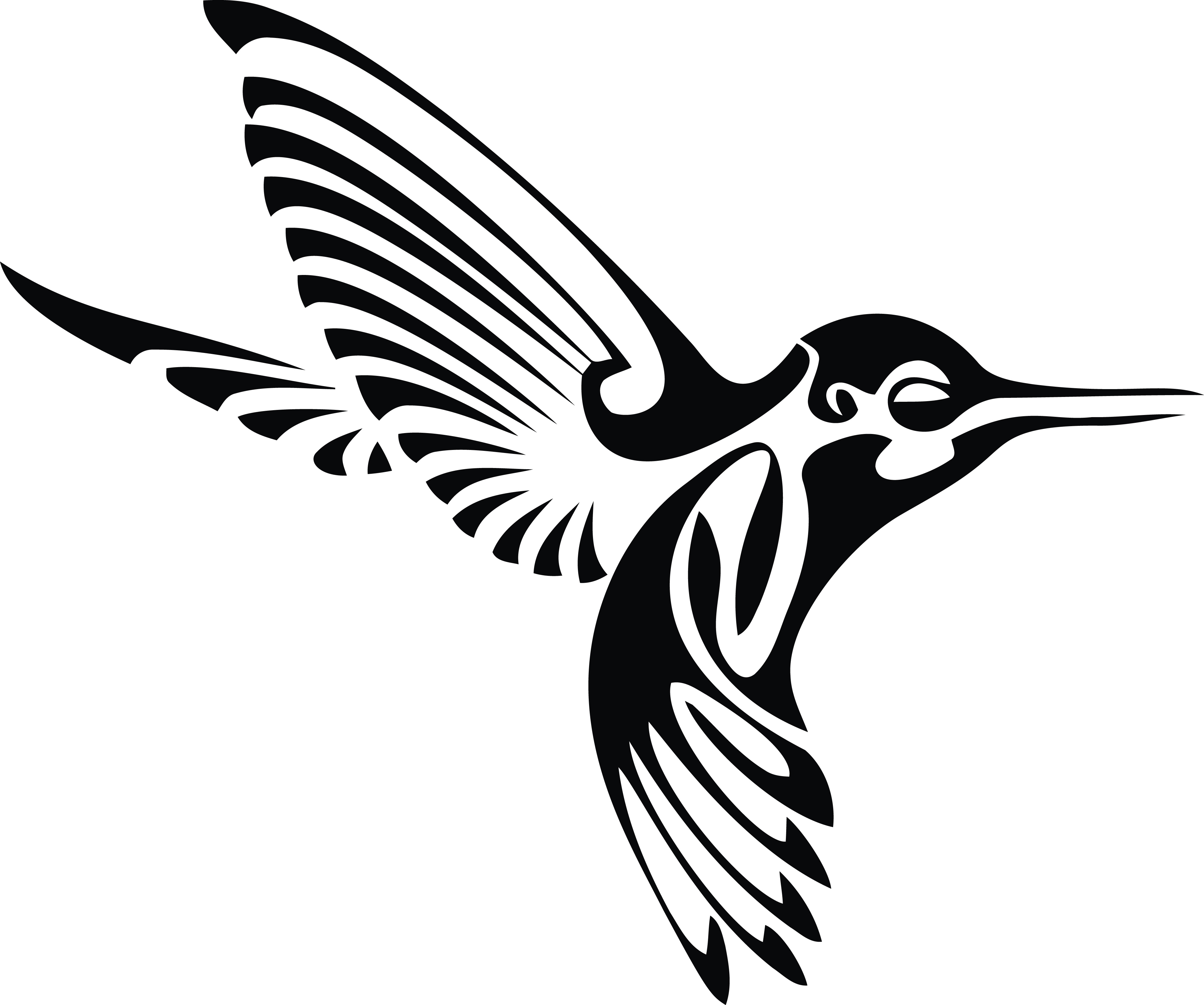 Free Clipart Of A Black And White Tribal Hummingbird In Flight