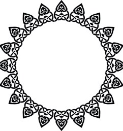 free clipart of a celtic round frame border design element in black and white knots [ 4000 x 4000 Pixel ]
