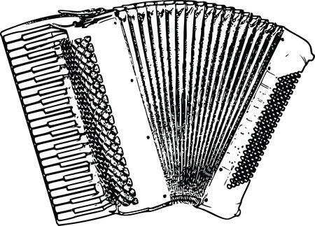 Free Clipart of a Vintage Piano Accordion