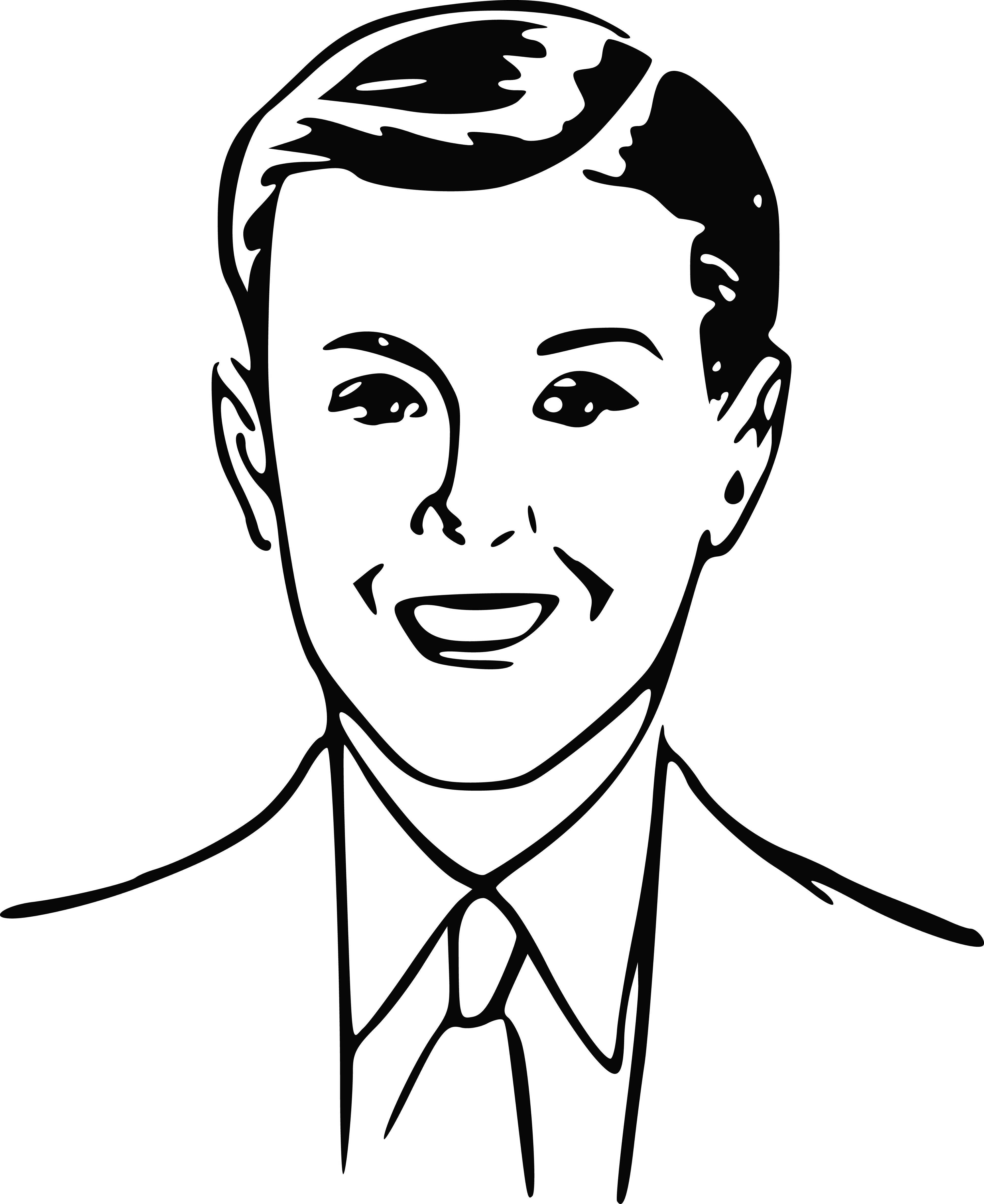 Free Clipart Of A Retro Boy Black And White