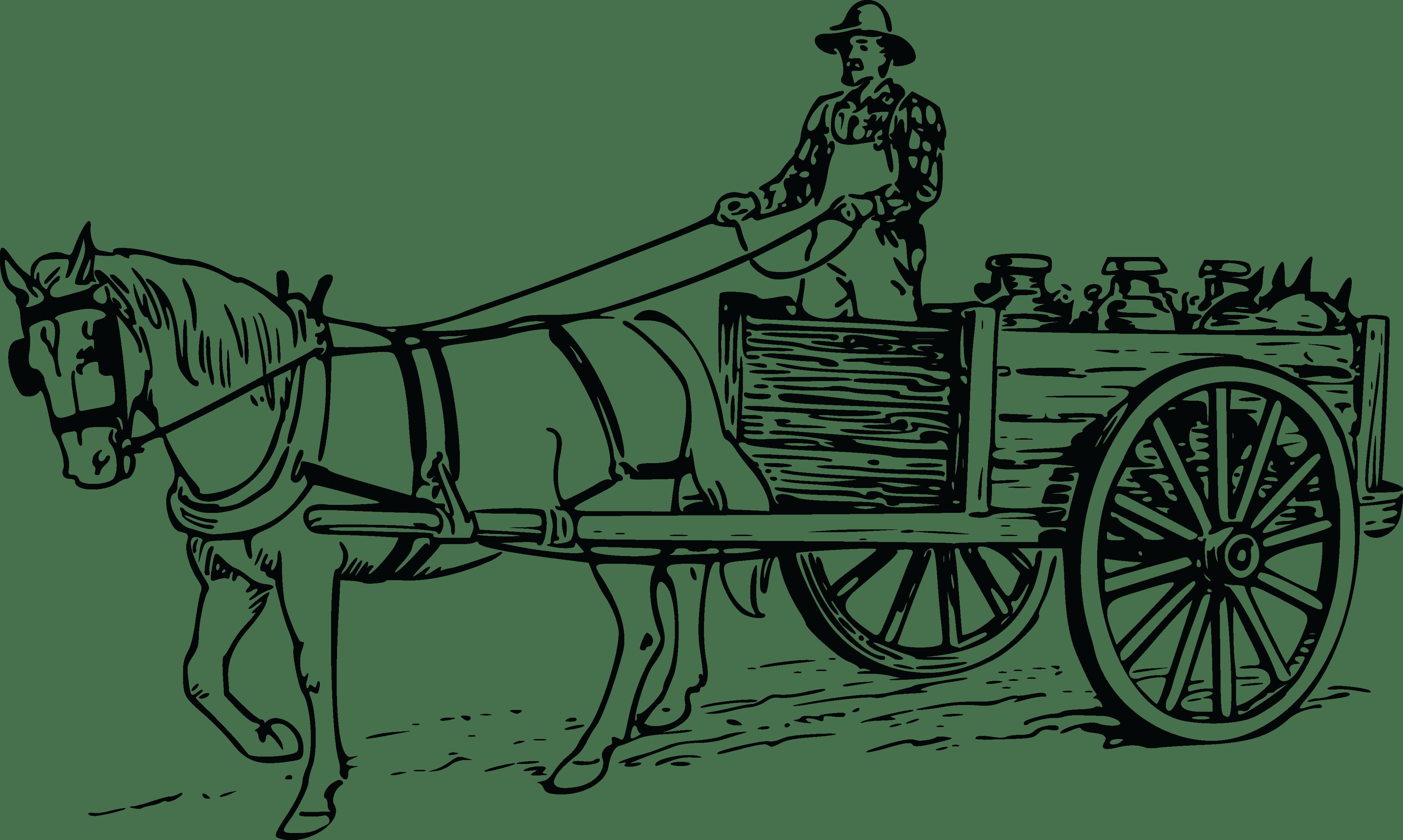 Free Clipart Of A Farmer Driving A Horse Drawn Cart