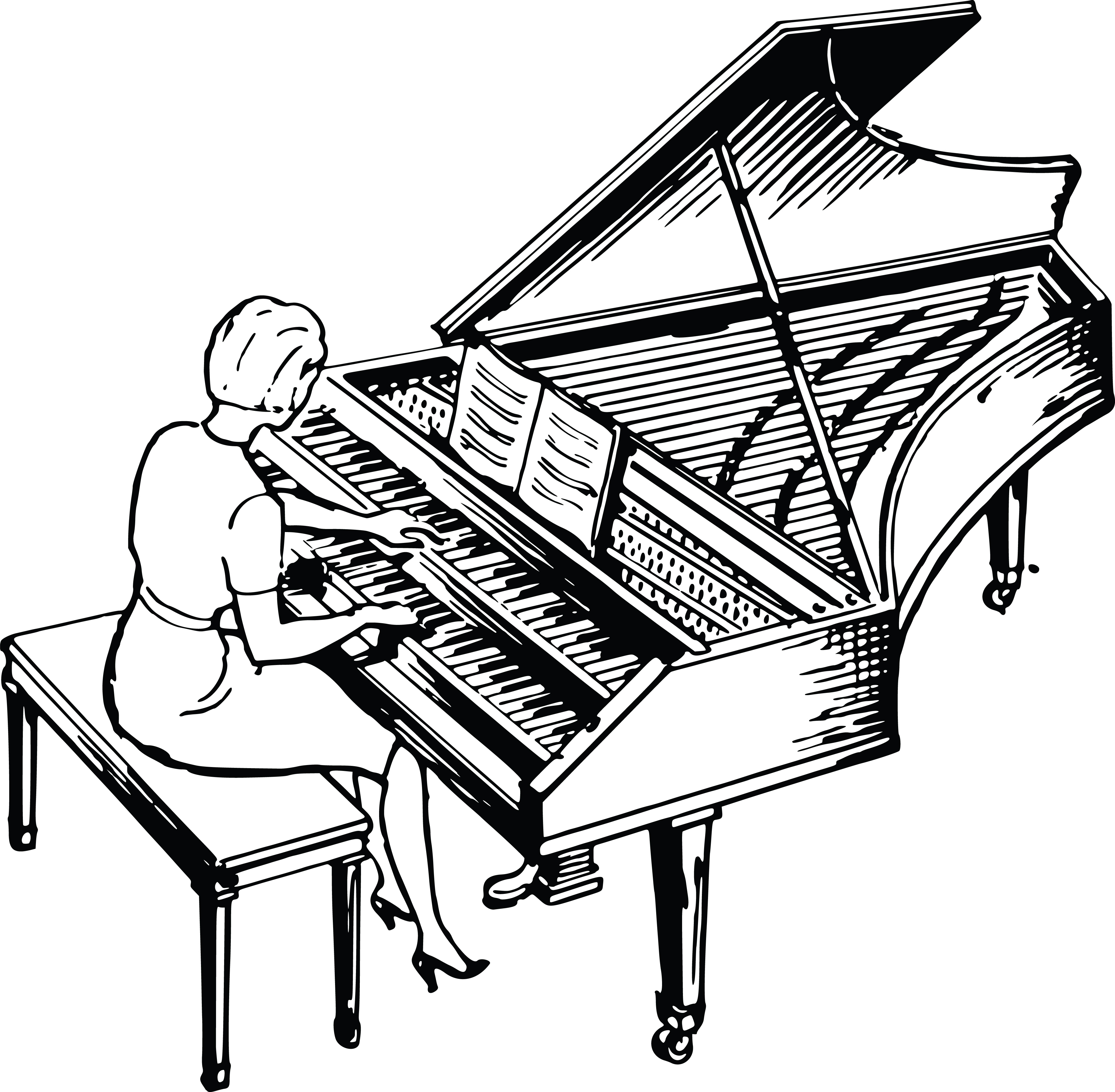 Free Clipart Of A Woman Playing A Piano