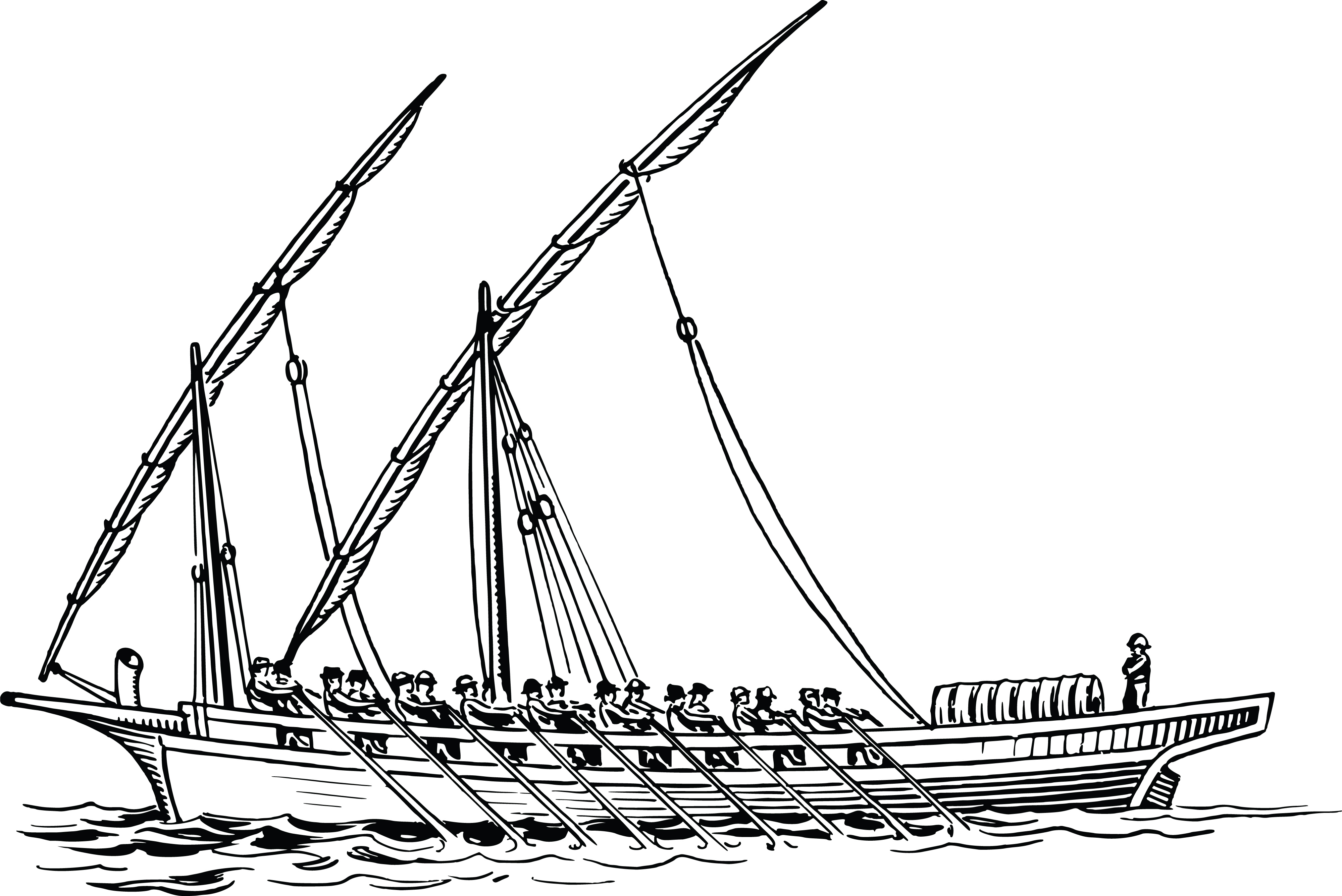 Free Clipart Of A Rowing Team On A Boat
