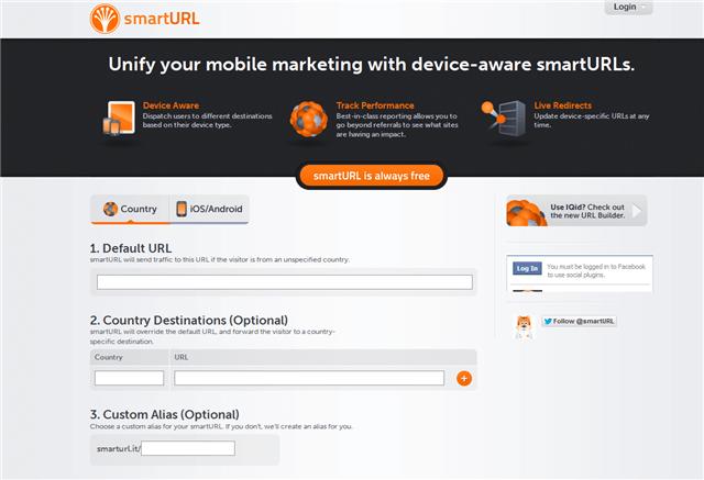 smartURL 智慧型免費轉址功能,可依照訪客來源、手機平台自動轉向特定網址