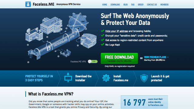 Faceless.me 免費 VPN 連線軟體,每月 2 GB 流量限制(支援 iOS、Android)
