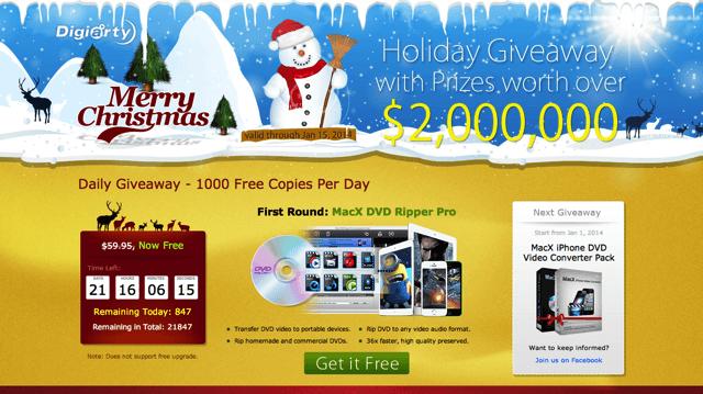 MacXDVD 聖誕節限免活動,免費送 DVD 影片擷取、轉檔工具