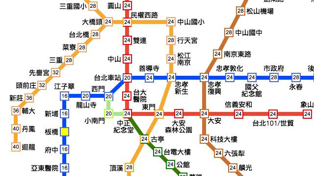 台北捷運路線圖、票價查詢