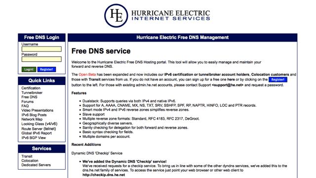 HE.net 提供免費 DNS 代管服務(Free DNS)