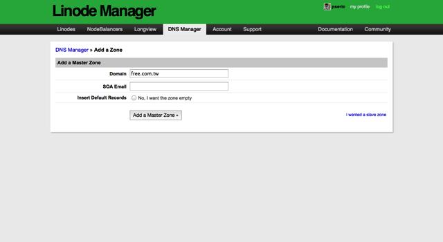 Linode 提供免費 DNS 代管服務,註冊即可使用