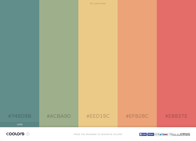 Coolors 簡單、快速的選色產生器,為你找出配色靈感