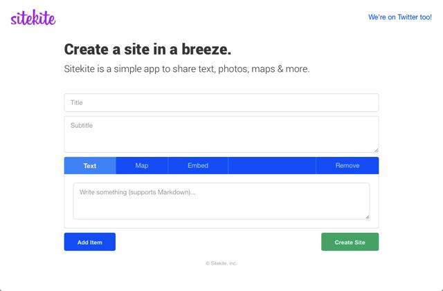 Sitekite 免費自助建站服務,輕鬆在網頁分享文字、圖片或 Google 地圖