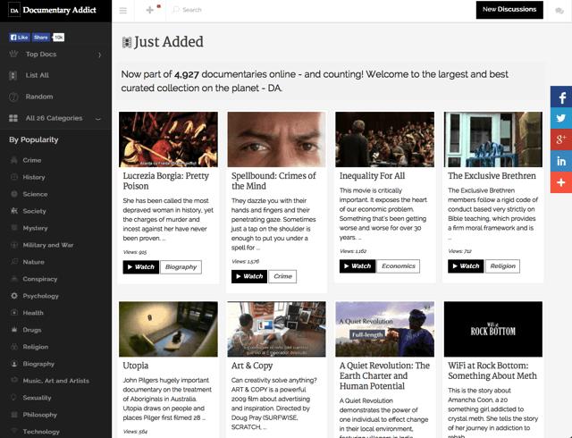 Documentary Addict 地表最豐富、完整的紀錄片頻道,各類影片線上看免下載 via @freegroup