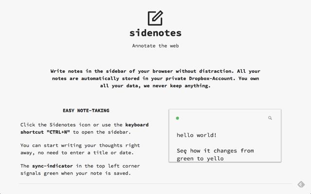 Sidenotes 在瀏覽器側邊欄開啟筆記功能,結合 Dropbox 雲端同步備份(Chrome 擴充功能)