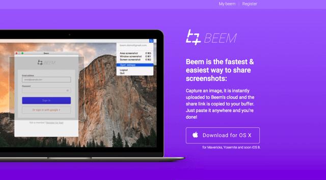 Beem 最快、最簡單的免費螢幕截圖工具,抓圖後自動上傳產生分享鏈結(Mac)