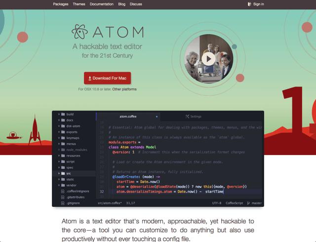 Atom — GitHub 開發的免費、開放原始碼跨平台編輯器正式版(Windows、Mac、Linux)