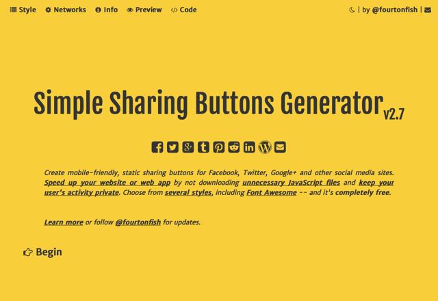 Simple Sharing Buttons Generator 線上快速製作純 HTML + CSS 社群網站分享按鈕