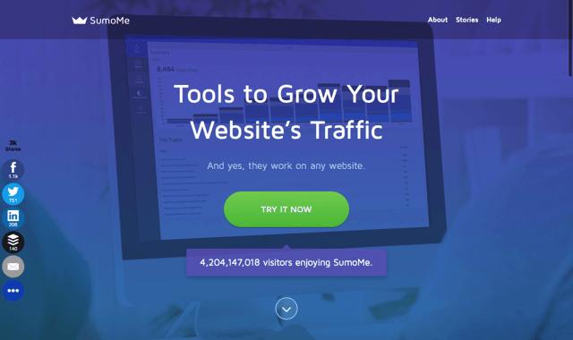 SumoMe 結合多種免費社群工具,快速讓網站流量成長 20%!