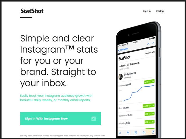 StatShot 追蹤你的 Instagram 粉絲人數等數據變化情形,將統計報告寄回信箱