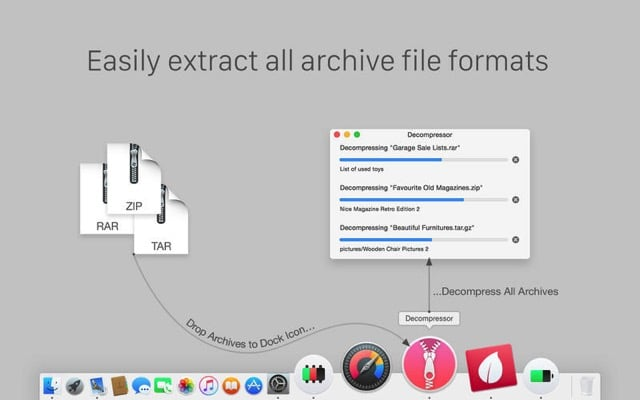 Decompressor 免費 Mac 解壓縮工具下載,支援常見壓縮檔格式