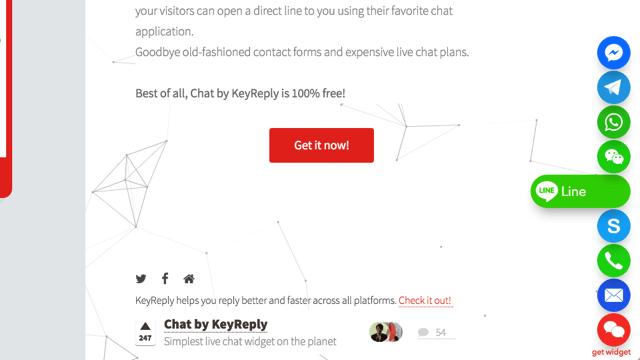 Chat by KeyReply 在網站右下角顯示即時通訊聯絡小圖示,讓訪客更容易找到你! via @freegroup