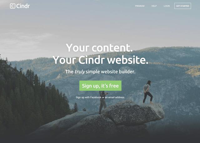 Cindr 免費網站架設平台,輕鬆建置行動裝置相容的單頁式網站
