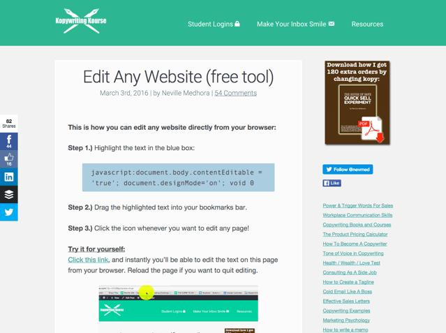 Edit Any Website 只要一行程式碼就能編輯任何網頁!直接把瀏覽器變身網頁測試工具
