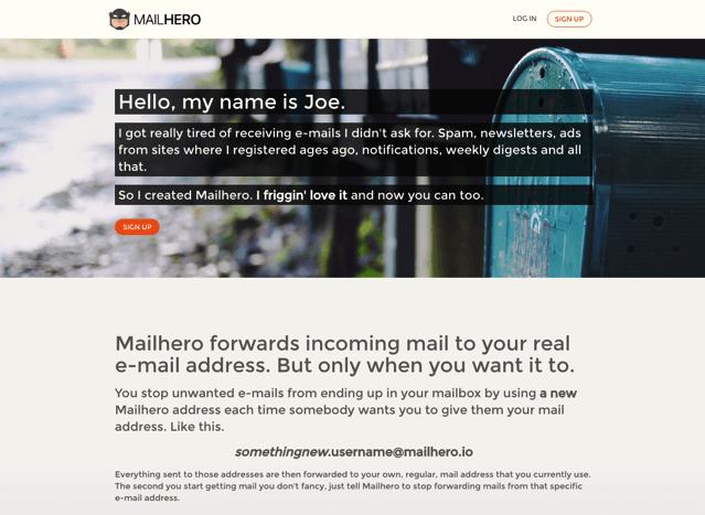 Mailhero 免費郵件轉寄服務,以匿名 Email 地址隱藏身份避免廣告垃圾信騷擾