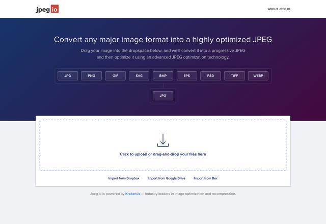 Jpeg.io 將常見圖片格式拖曳轉檔為最佳化 JPEG,大幅降低容量且無損畫質
