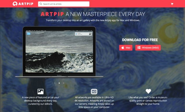 Artpip 讓你的電腦桌布變成藝廊美術館!自動下載更換各種藝術畫作