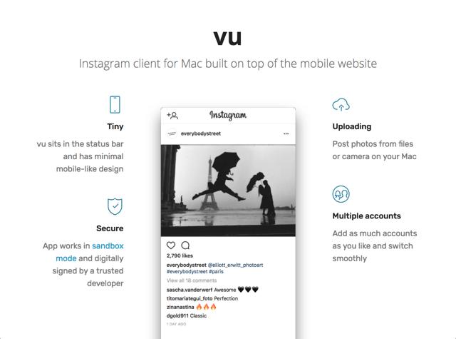 vu for Mac 輕量化免費 Instagram 電腦版下載,可上傳相片支援多帳戶
