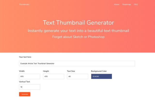 Thumbnaily 文字縮圖產生器,線上將文字轉圖片可設定大小和背景顏色