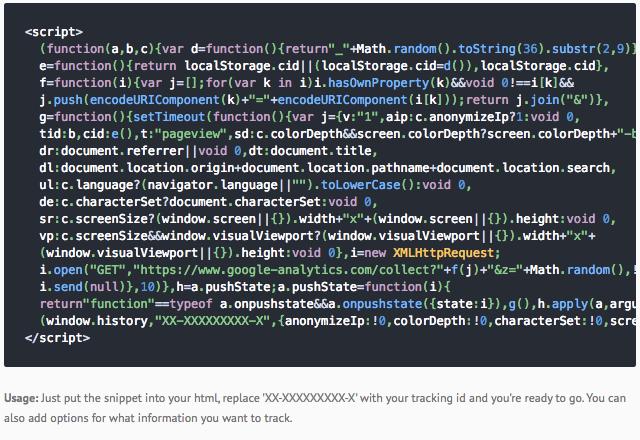 Minimal Google Analytics Snippet