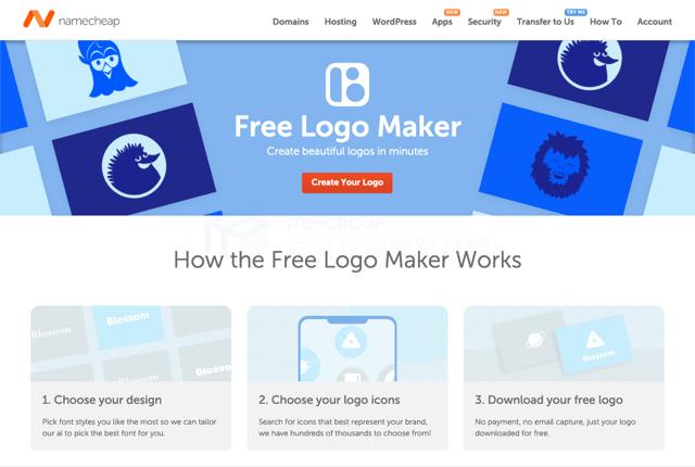 Namecheap Logo Maker 互動式標誌圖案產生器,免費下載 PNG、SVG 檔