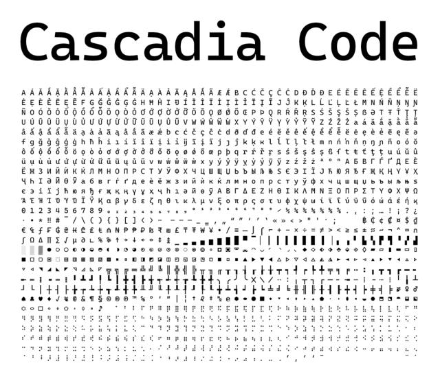 Cascadia Code 微軟釋出免費等寬字型,開源更適合程式碼編輯器和終端機