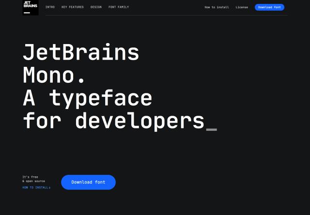 JetBrains Mono 更適合閱讀程式碼的等寬字型,內建四種字重斜體可商用