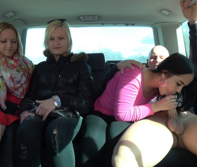 Girlfriends Left One Of Them Enjoy Cock In Driving Van